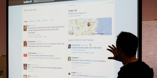 Sept. 14, 2010: In this file photo, Twitter CEO Evan Williams makes a presentation about changes to the social network at Twitter headquarters in San Francisco.