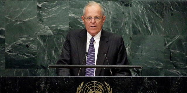Peru's President Pedro Pablo Kuczynski addresses the 71st session of the United Nations General Assembly, at U.N. headquarters, Tuesday, Sept. 20, 2016. (AP Photo/Richard Drew)