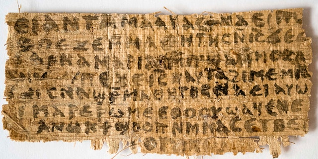 """This Sept. 5, 2012 photo released by Harvard University shows a fourth century fragment of papyrus that divinity professor Karen L. King says is the only existing ancient text that quotes Jesus explicitly referring to having a wife.  King, an expert in the history of Christianity, says the text contains a dialogue in which Jesus refers to """"my wife,"""" whom he identified as Mary. King says the fragment of Coptic script is a copy of a gospel, probably written in Greek in the second century. (AP Photo/Harvard University, Karen L. King)"""