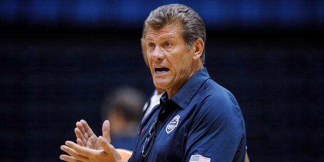 July 14, 2012: U.S. women' Olympic basketball team coach Geno Auriemma gestures during practice Saturday in Washington.