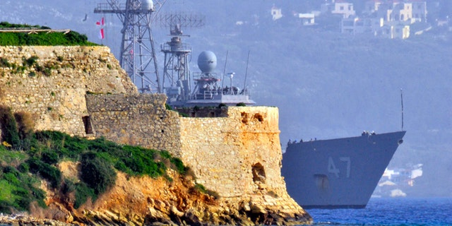 Feb. 4, 2013: The guided-missile frigate USS Nicholas (FFG 47) enters Souda Harbor in Greece. Nicholas is homeported at Naval Station Norfolk and currently deployed conducting maritime security operations and theater security cooperation efforts.