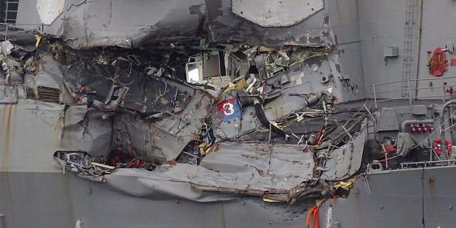 Damaged part of USS Fitzgerald is seen at the U.S. Naval base in Yokosuka, southwest of Tokyo June 18.
