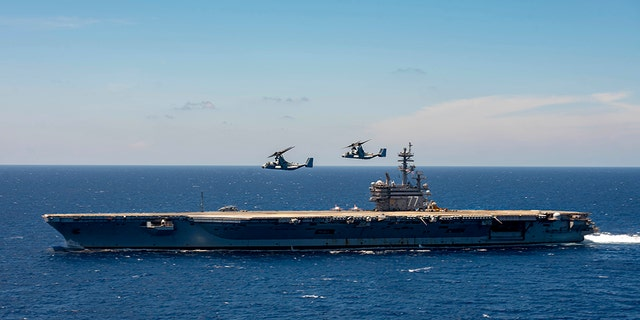 Airman Apprentice Joseph Min Naglak had just secured an E-2C Hawkeye radar plane to the flight deck; Naglak's death occurred Monday aboard the USS George H. W. Bush (pictured) while it was in the Atlantic Ocean.