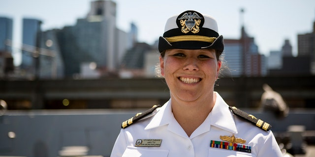 Lt. Carley Tadlock on board the USS Arlington.