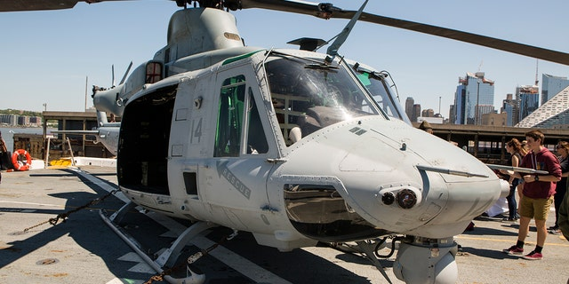 A helicopter on board the USS Arlington, one of the ships that can be toured by the public during New York City's Fleet Week.
