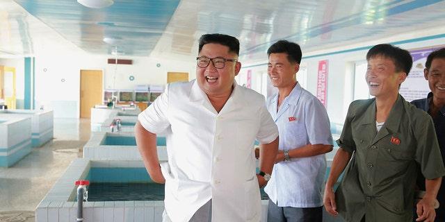 Kim Jong Un inspecting a fish farm.