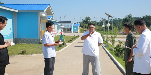 Kim Jong Un stressing the importance of breeding the fish for the country's man-made lake.