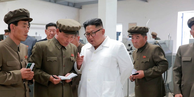 Kim is often pictured surrounded by officials scrawling notes on a notepad.