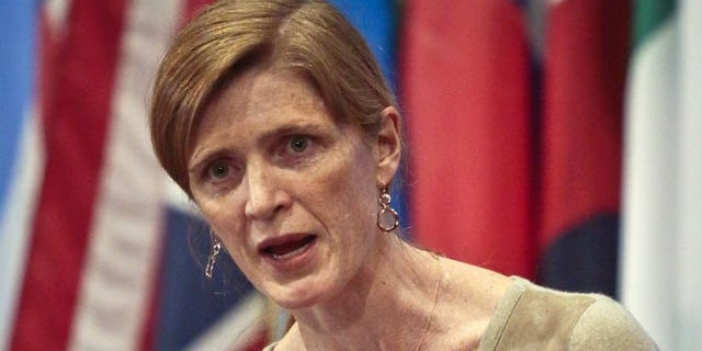 File-This Feb. 28, 2014, file photo shows Samantha Power, U.S. Ambassador to the U.N., speaking during a news conference after a private U.N. Security Council meeting. (AP Photo/Bebeto Matthews, File)