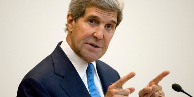 June 18, 2014: Secretary of State John Kerry gives the keynote address at the 2014 World Food Prize Laureate Announcement Ceremony, at the State Department in Washington. (AP Photo/Molly Riley, File)