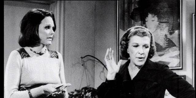 "Valerie Harper and Nancy Walker as Rhoda Morgenstern and Mom, scene from TV series ""Rhoda."""