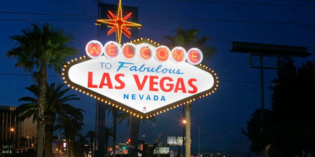 """Mar. 27, 2010: A view of the """"Welcome To Fabulous Las Vegas"""" neon sign is seen before Earth Hour in Las Vegas, Nevada."""