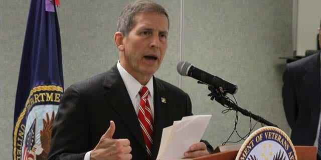 July 18, 2014: Veterans Affairs Acting Secretary Sloan Gibson speaks during a press conference at the local VA facility in El Paso, Texas. (AP Photo/Juan Carlos Llorca)