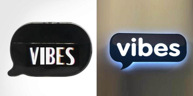 Kim's perfume bottle, left, and the Vibes Media logo, right.