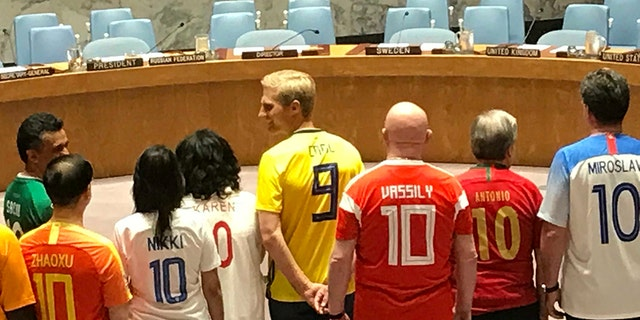The 15 members of the U.N. Security Council donned their nations' jerseys as World Cup fever began. (Fox News)