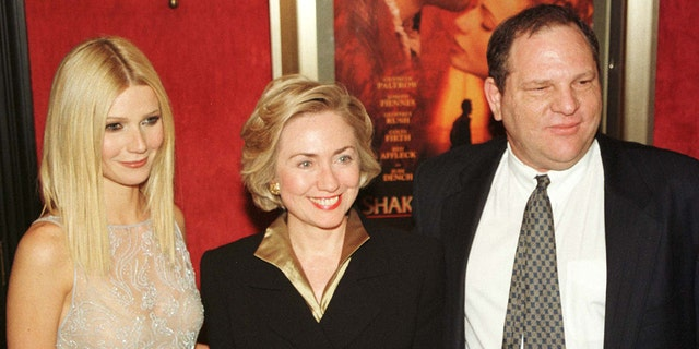 "Actress Gwyneth Paltrow (L) poses with first lady Hillary Rodham Clinton (C) and Miramax co-chairman Harvey Weinstein as they arrive for the premiere of ""Shakespeare in Love"" in New York on December 3. Clinton introduced the film, which stars Paltrow, Joseph Fiennes, and Geoffrey Rush. It opens in New York and Los Angeles on December 11 and nationally on Christmas Day.