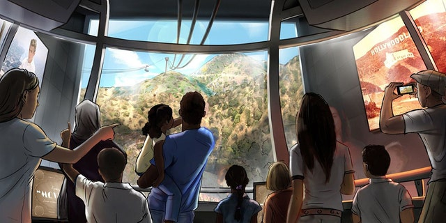 The proposed tram would take six minutes, transport tourists more than a mile up Mt. Lee and would start from a site beside Warner Bros.' lot in Burbank