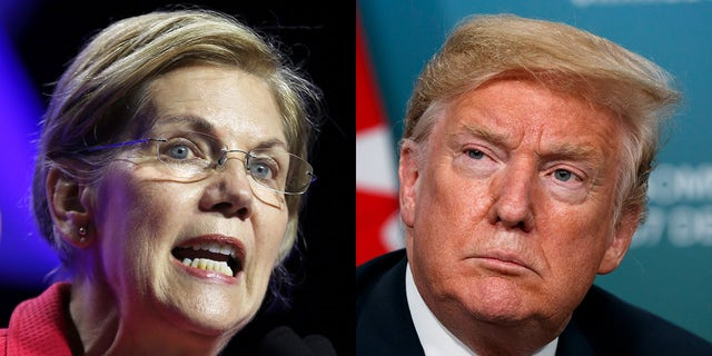 """Sen. Elizabeth Warren, D-Mass., (left) announced on Friday that she had sent a letter to the Securities and Exchange Commission and the Commodities Futures Trading Commission concerning what she said were Trump's """"reckless comments on market-moving economic data prior to their public release."""""""