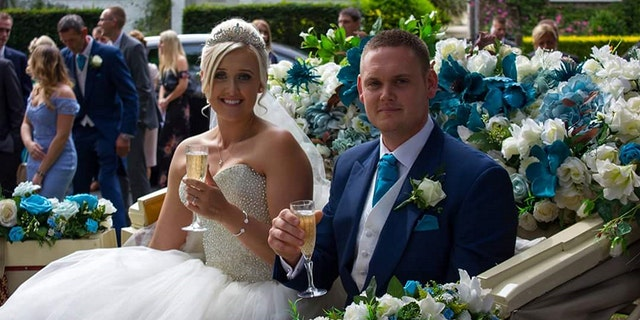 """""""We both found it so funny,"""" the bride said of her new husband's accident."""