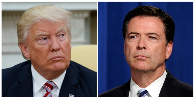 """President Trump, left, said he did the country """"a great service"""" by firing former FBI Director James Comey, right."""