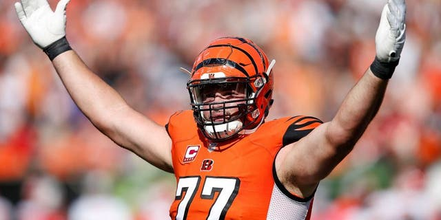 Andrew Whitworth #77 of the Cincinnati Bengals attempts to excite the crowd during the third quarter of the game against the Kansas City Chiefs at Paul Brown Stadium on October 4, 2015 in Cincinnati, Ohio. (Photo by Joe Robbins/Getty Images)