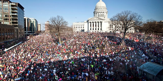 March 12, 2011: Protesters attend a rally at the Wisconsin Capitol in Madison.