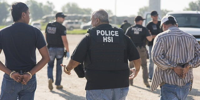 The investigative arm of U.S. Immigrations and Customs Enforcement — Homeland Security Investigations — led the operation that saw about a dozen businesses and plants raided and the arrests of 14 business owners and managers and more than 130 workers. Most of the arrests occurred in northern Nebraska and southern Minnesota.  (ICE)