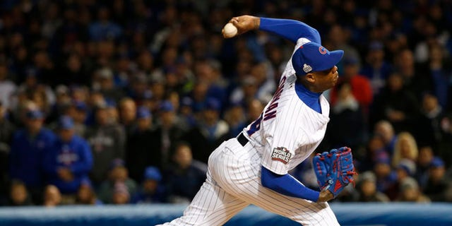 Chicago Cubs relief pitcher Aroldis Chapman on Sunday, Oct. 30, 2016, in Chicago.