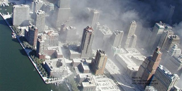 Photo taken Sept. 11, 2001 by the New York City Police Department shows smoke billowing from the grounds of World Trade Centerfollowing the 9/11 attacks.