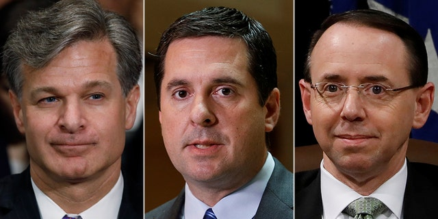 Congressional investigators, such as Republican chairman of the House Intelligence Committee, Devin Nunes (center), are still facing roadblocks over FBI records, despite promises of cooperation from FBI Director Christopher Wray (left) and Deputy Attorney General Rod Rosenstein (right).