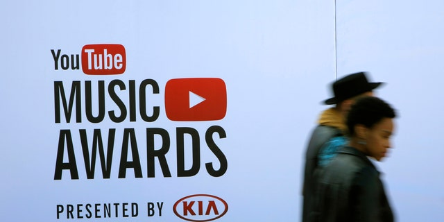People arrive for the YouTube Music Awards in New York in 2013.