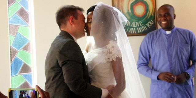 The couple got married at the chapel in Mater Dei Hospital in Bulawayo, Zimbabwe.