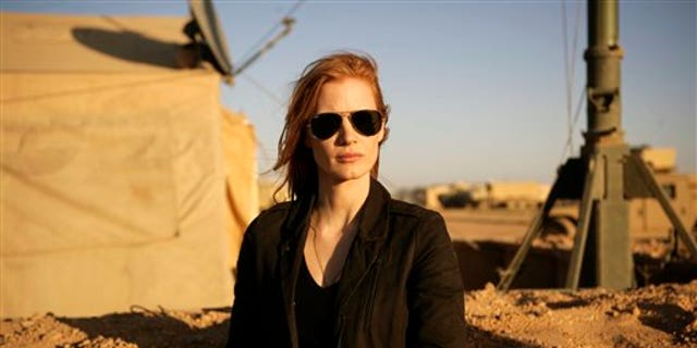 "FILE - This undated publicity film image provided by Columbia Pictures Industries, Inc. shows Jessica Chastain in""Zero Dark Thirty.""  Chastain was nominated  for an Academy Award for best actress on Thursday, Jan. 10, 2013, for her role in the film.  The 85th Academy Awards will air live on Sunday, Feb. 24, 2013 on ABC.  (AP Photo/Columbia Pictures Industries, Inc., Jonathan Olley, File)"