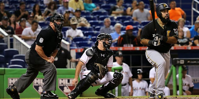 Pedro Alvarez #24 of the Pittsburgh Pirates reacts to flying out during a game against the Miami Marlins at Marlins Park on August 24, 2015 in Miami, Florida.  (Photo by Mike Ehrmann/Getty Images)