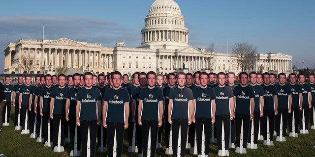 When Mark Zuckerberg prepared to testify before the Senate in April, 100 cardboard cutouts of the Facebook founder and CEO were placed outside the U.S. Capitol in Washington.