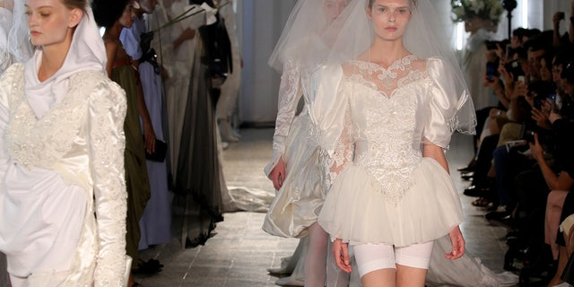 Nearly all of the bridal looks featured bike shorts.