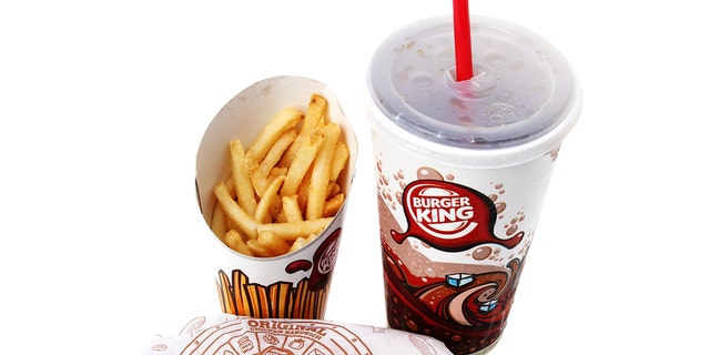 West Palm Beach, USA - February 21, 2011: A Burger King Chicken Sandwich Value Meal which includes a soda drink, french fries and a chicken sandwich.