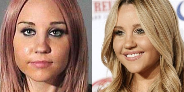 Amanda Bynes in her mugshot (left) and on the red carpet