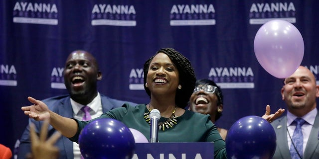 Ayanna Pressley, who had the backing of Alexandria Ocasio-Cortez, defeated longtime Rep. Michael Capuano last year. (Associated Press)