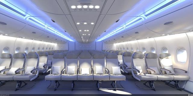 Airbus A380's packed economy class seats 11 passengers per row.
