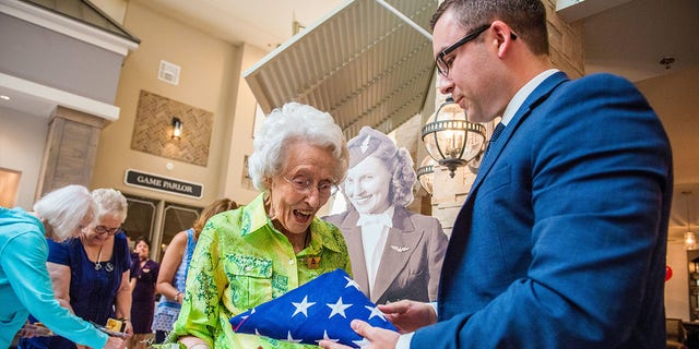 She also received a flag that flew above the U.S. Capitol building in honor of her service.