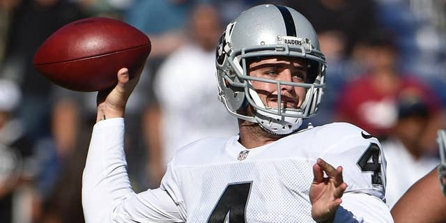 Oakland Raiders quarterback Derek Carr struggles against the pass rush of San Diego Chargers defensive end Corey Liuget during the first half an NFL football game Sunday, Nov. 16, 2014, in San Diego. (AP Photo/Gregory Bull)