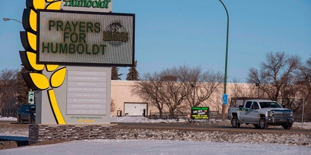 A sign honored the members of the Humboldt Broncos hockey team.
