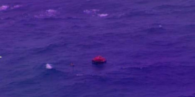 An HC-130 Hercules aircrew from Coast Guard Air Station Barbers Point located a life raft with eight people aboard from the fishing vessel Princess Hawaii.