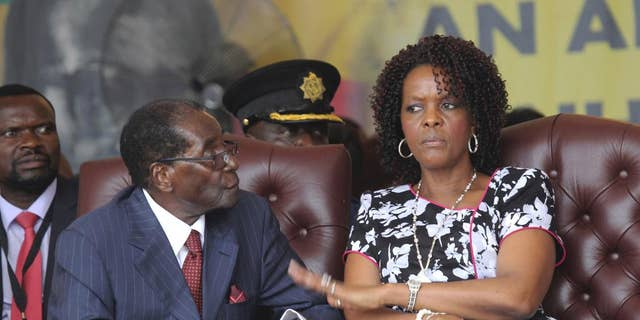 Zimbabwe President Robert Mugabe and his wife Grace during his birth holidays in Masvingo on February 27, 2016.