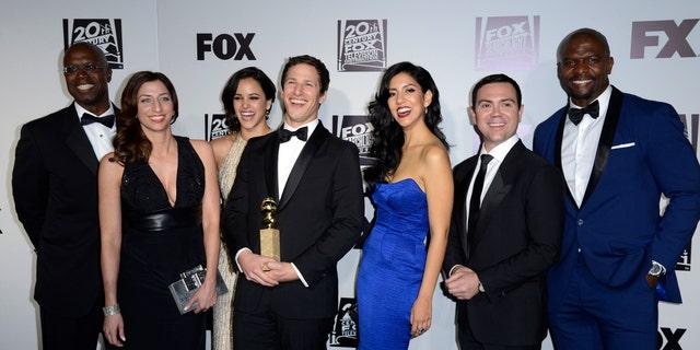 "The Cast of ""Brooklyn Nine Nine"" at the Golden Globe Awards."