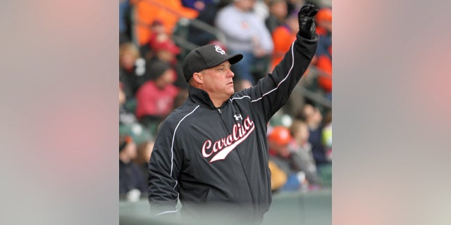 ADVANCE FOR WEEKEND EDITIONS, FEB. 22-23 - FILE - In this March 2, 2013 file photo, South Carolina head coach Chad Holbrook signals an outfield shift during an NCAA college baseball game against Clemson at Fluor Field in Greenville, S.C. (AP Photo/Anderson Independent-Mail, Mark Crammer, File)  GREENVILLE NEWS OUT, SENECA NEWS OUT