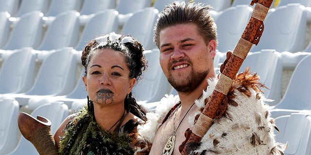 Maori entertainers are seen before the Cricket World Cup match between Ireland and the West Indies in Nelson February 16, 2015.