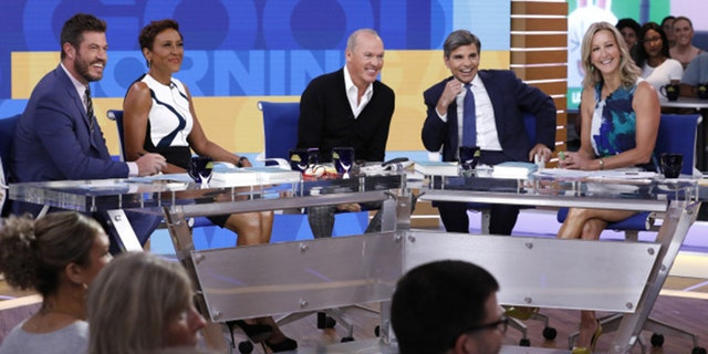 """Stephanopoulos' feet aren't visible on the altered """"Good Morning America"""" set."""