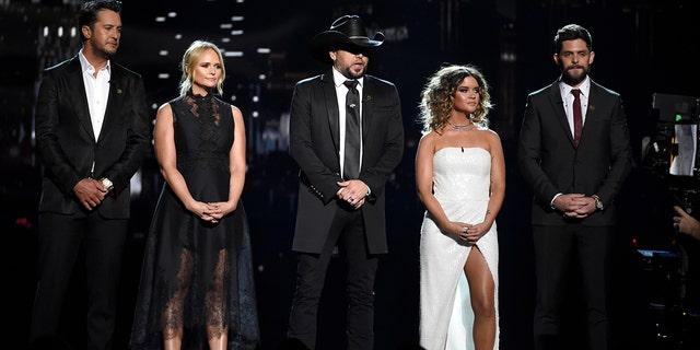 Luke Bryan, from left, Miranda Lambert, Jason Aldean, Maren Morris and Thomas Rhett speak at the 53rd annual Academy of Country Music Awards at the MGM Grand Garden Arena on Sunday, April 15, 2018, in Las Vegas.